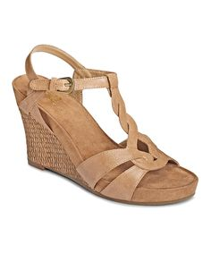 Look at this Nude Stone Plush T-Strap Wedge on #zulily today!