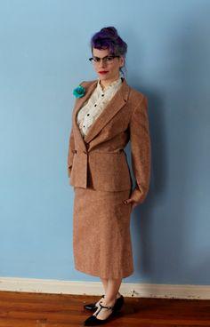 Tweedheart Vintage Diane Von Furstenberg Two Piece Pinstripe