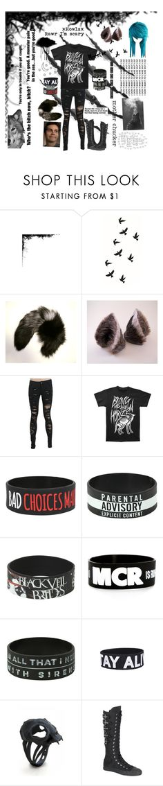 """I'm a wolf so, like, rawr and stuff."" by literaldisaster ❤ liked on Polyvore featuring Maison Kitsuné and Hot Topic"