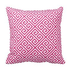 Hot Pink Greek Key Pattern Throw Pillow