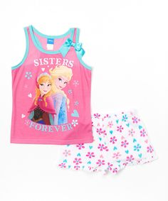 Look what I found on #zulily! Pink Anna & Elsa 'Sisters Forever' Frozen Pajama Set - Girls by Frozen #zulilyfinds