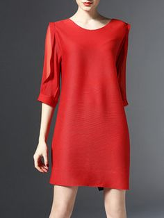 Red 3/4 Sleeve Polyester Crepe Mini Dress
