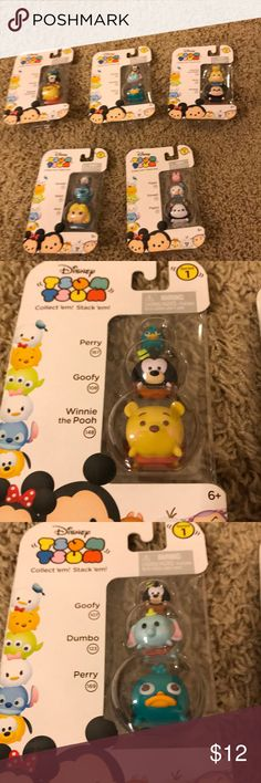 Series 1 new in package stackable TsumTsum, Great collectors items the series one stackable TsumTsum. Bundle of 5 packages. Winnie the Pooh, Alice,  Mickey, perry, goofy, Donald, piglet, dumbo. Disney Other