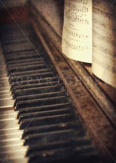 old vintage piano with sheet music color print by PhotographsbyKLP