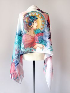Handpainted silk scarf Mucha inspired Art Nouveau Jugenstil