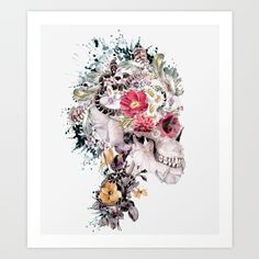 Buy Momento Mori X Art Print by RIZA PEKER. Worldwide shipping available at Society6.com. Just one of millions of high quality products available. #skull #illustration #society6