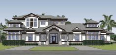 House Plan 71536 - Contemporary , House Plan with 4935 Sq Ft, 5 Bed, 7 Bath, 3 Car Garage Dream House Plans, House Floor Plans, My Dream Home, Dream Homes, Florida House Plans, Florida Home, Contemporary Style Homes, Contemporary House Plans, Architectural Design House Plans