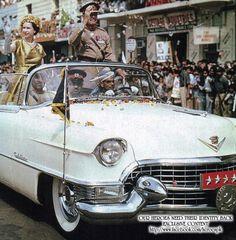 Queen Elizabeth with President Ayub Khan on Victoria Road Karachi in 1961.