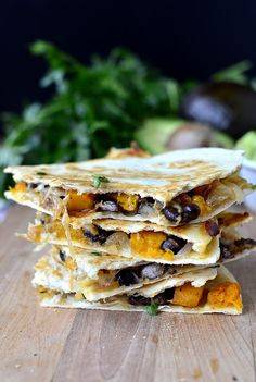 Black Bean & Butternut Squash Quesadillas with Lazy Girls Guacamole   iowagirleats.com