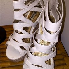 ❤Gladiator Wedges❤️ ‼️️️Offers Welcome...Bundles Encouraged‼️Off-White Gladiator Wedges by Soda in LIKE NEW condition comes in a size 6.  Only worn once for a Halloween costume. There is one tiny scuff (see photo) but otherwise in PERFECT condition! Super cute and trendy! ❤️ Soda Shoes Wedges
