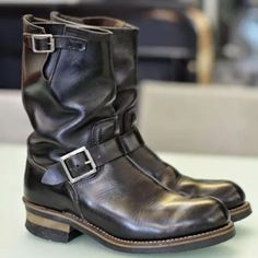 Men's Vintage Leather Mid Engineer Boots Brogue Chelsea Boots, Leather Chelsea Boots, High Ankle Boots, Slip On Boots, Leather Brogues, Leather Ankle Boots, Cow Leather, Roper Boots, Men's Boots