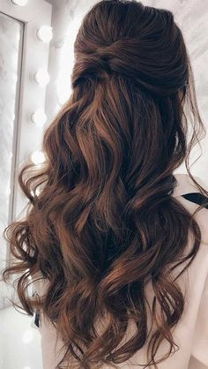 43 Gorgeous Half Up Half Down Hairstyles - half up half down hairstyles , fabmood, partial updo hairstyle , half up half down hairstyles wedd - Wedding Hairstyles Half Up Half Down, Wedding Hairstyles For Long Hair, Wedding Hair And Makeup, Gorgeous Hairstyles, Half Up Half Down Wedding Hair, Bridal Hair Down, Long Bridal Hair, Prom Hair Down, Wedding Hair Brunette