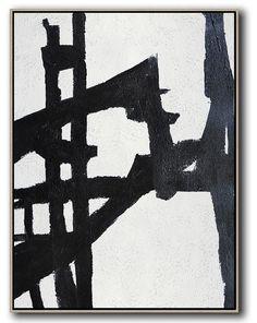 Black and white abstract painting minimalist art on canvas #MN10B, modern art by CZ ART DESIGN @CelineZiangArt