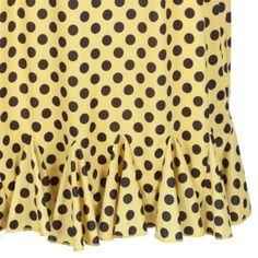 'Gray' Yellow and Black Polka Dot Wiggle Dress