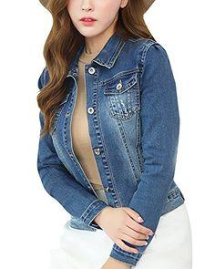 DianShao Donna Corta Denim Giacca Manica Lunga Jeans Sottile Jacket Cappotto  Con Pulsante Blu L dd214146b9e
