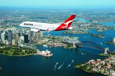 The beautiful scenery of Sydney I may see if I fly into the airport. I haven't decided for sure if I am going through Sydney or Brisbane Qantas A380, Qantas Airlines, Airbus A380, Drones, Fly To Australia, Sydney Australia, Cairns Australia, Australia Travel, Dallas