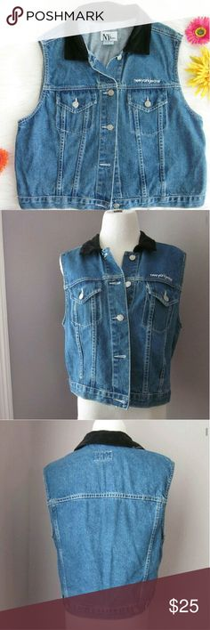 """Vintage NY Jean Denim Vest Lg Excellent condition! No flaws apparent. Velvety collar. Body 100% cotton. Armpit to armpit 20.5 inches. Length shoulder down 20"""". #streetstyle #throwback #retro #vintage #junkdrawer  Bundle for best deals! Hundreds of items available for discounted bundles! You can get lots of items for a low price and one shipping fee!  Follow on IG: @the.junk.drawer Vintage Jackets & Coats Vests"""