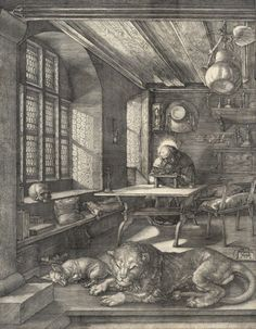St. Jerome in His Study : Albrecht Dürer  :  circa 1514  #Etching