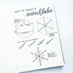 "106 Likes, 4 Comments - Liz • Bullet Journal (@bonjournal_) on Instagram: ""Hi everyone! Here are the steps to draw a snowflake. In the first step, i provided dimensions to…"""