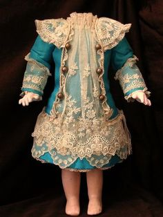 "Turquoise French Silk Lace Dress for Antique Bisque Doll 13"" 14"" 
