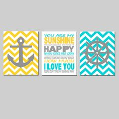 Nautical Nursery Trio  Set of Three 8x10 Prints  Kids by Tessyla, $55.00