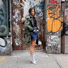 How does one reconcile their simultaneous thrill for @wconcept's bomb-ass #frontrowxlowclassic parka paired with naked legs and real fear of environmental havoc? - Man Repeller