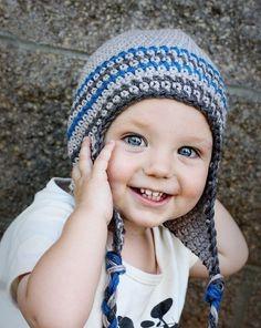 Grey/Blue Ear Flap Beanie (eyes sort of look like my nephew Matt)