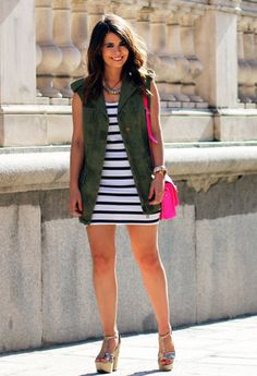 dark green army vest+ stirped mini dress+ fluo bag