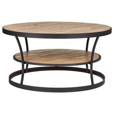 Wood and Metal Round Coffee Table with Shelf  349$   39 x39 x20