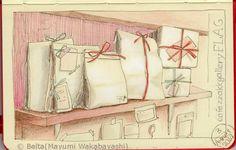 2014_08_04_flag_01_s   枚方のカフェ&ギャラリー フラッグの棚。  ほんとはこんなピンクではありません(笑)     棚のパース、歪みました(笑)     for this drawing I used  Faber Castell polychromos  Moleskine sketchbook  Holbein artists colored pencils     © Belta(Mayumi Wakabayashi)