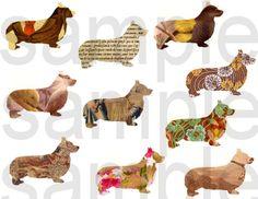 Altered with Vintage Graphics Pembroke Welsh Corgi DOGS Digital Collage Sheet