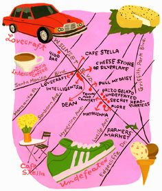 Secretly every Angeleno pines for a walkable neighborhood, and a scruffy stretch known as Sunset Junction has become just that. Los Angeles Travel, Usa 2016, Silver Lake, Illustrations, City Maps, Low Key, Map Art, Vintage Photos, Wax