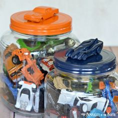 Hot Wheels car jar  note to self: make out of protein powder tubs painted with plastic paint