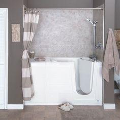 Bathroom Remodeling: Safe Walk in Tubs and Showers Walk In Tub Shower, Walk In Bathtub, Tub Shower Combo, Bathtub Shower, Handicap Bathroom, Bathroom Remodeling, Bathroom Ideas, Bathroom Colors, Bath Ideas