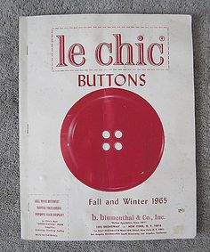 Le Chic Dress Buttons - Salesman's Sample of Complete Line for 1965