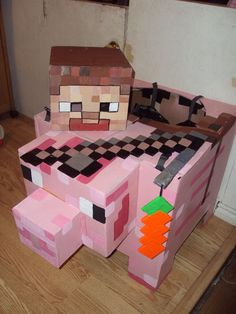 Steve riding a pig Minecraft cardboard halloween costume                                                                                                                                                                                 More