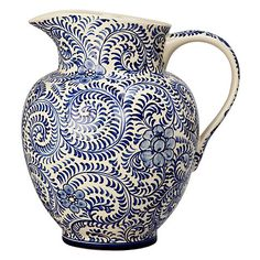 Buy John Lewis Patterned Ceramic Jug, Blue from our Statement products range at John Lewis & Partners. Pottery Painting, Ceramic Painting, Decorative Accessories, Home Accessories, Blue Pottery, John Lewis, Framed Art, Decorative Bowls, Blue And White