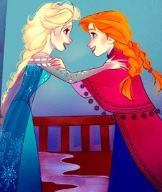 Elsa & Anna. Reminds me of Kirsten and Marta from the American Girl book Meet Kirsten.