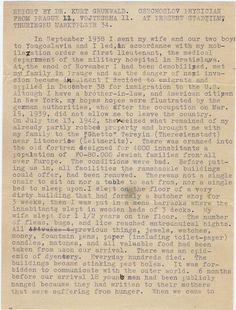 This is the first page of a post-war testimony Dr. Kurt Grunwald delivered to Pvt. Albert Levinson in Ohrdruf.