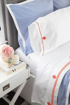 Can you TASTEFULLY Decorate for football season? Check out our post on how to with LOTS of ideas! UF Gators home design and decor. University of Florida Serena and Lilly guest bedroom. blue ticking duvet and shams, orange detail white sheets Bed Linen Design, Bed Design, Grey Bedding, Linen Bedding, Bed Linens, Modern Bedding, Zara Home, Design Hotel Paris, Pregnant Sleep