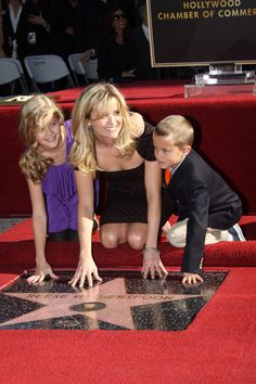 Reese Witherspoon and her children at her induction to the Hollywood walk of fame. Great mother