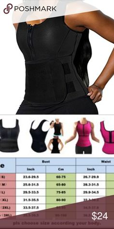 LARGE BLACK SAUNA VEST NEW BLACK BRAND NEW LG SCULPTING VEST Specifications: Zipper front design for easy on/off access. Adjustable waistband with velcro closure. Increase abdominal heat and promote weight loss. Full coverage for the upper body, back fat, and tummy... great for women who desire to sweat more during your workout.  Type: Shapewear Garment Care: Hand Wash Material: Neoprene Features: Waist Trainer, Workout Vest, Corset, Body Shaper, Slimming, Tummy Control, Helps postpartum…