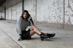 Outfit: Zara Striped Blouse, Black and white and Black Boots