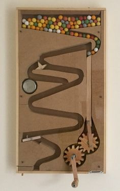 marble run gumball machine, woodwork, woodcraft, candy dispenser bubblegum Woodworking Toys, Woodworking Projects, Marble Machine, Small Space Interior Design, Candy Dispenser, Small Wood Projects, Simple Machines, Gumball Machine, Wood Toys
