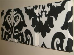 Set Of 3 Contemporary Modern Designer Retro Print Design Very Funky Black Damask Wall Hanging Canvases Wall Art.. $65.00, via Etsy.