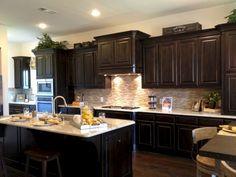Amazing Kitchen Backsplash Dark Cabinets - nicholas news Backsplash With Dark Cabinets, Dark Wood Cabinets, Dark Kitchen Cabinets, Kitchen Backsplash, Backsplash Ideas, Cabinet Door Styles, Cabinet Doors, Kitchen Design Open, Kitchen Models
