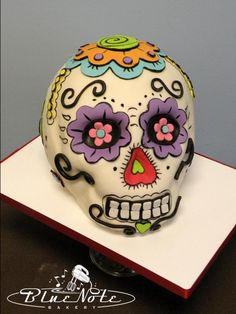 Sugar skull sculpted cake - dia de los muertos - day of the dead | Blue Note Bakery - Austin, Texas
