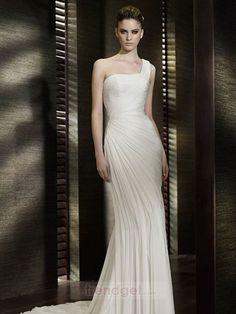 Unique Sheath / Column One Shoulder Floor-length Chiffon White Wedding Dresses on www.trendget.com