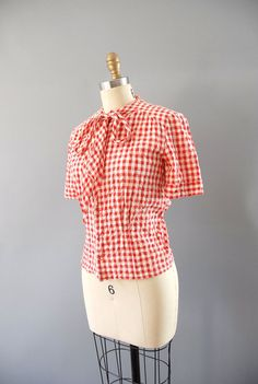 1940s Blouse  / Gingham Bow Blouse / 40s by wildfellhallvintage, $44.00