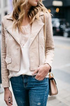 Spring Outfit, Valentine's Day Casual Outfit, Blush Suede Moto Jacket, Blush Lace Cami, Denim Ripped Skinny Jeans